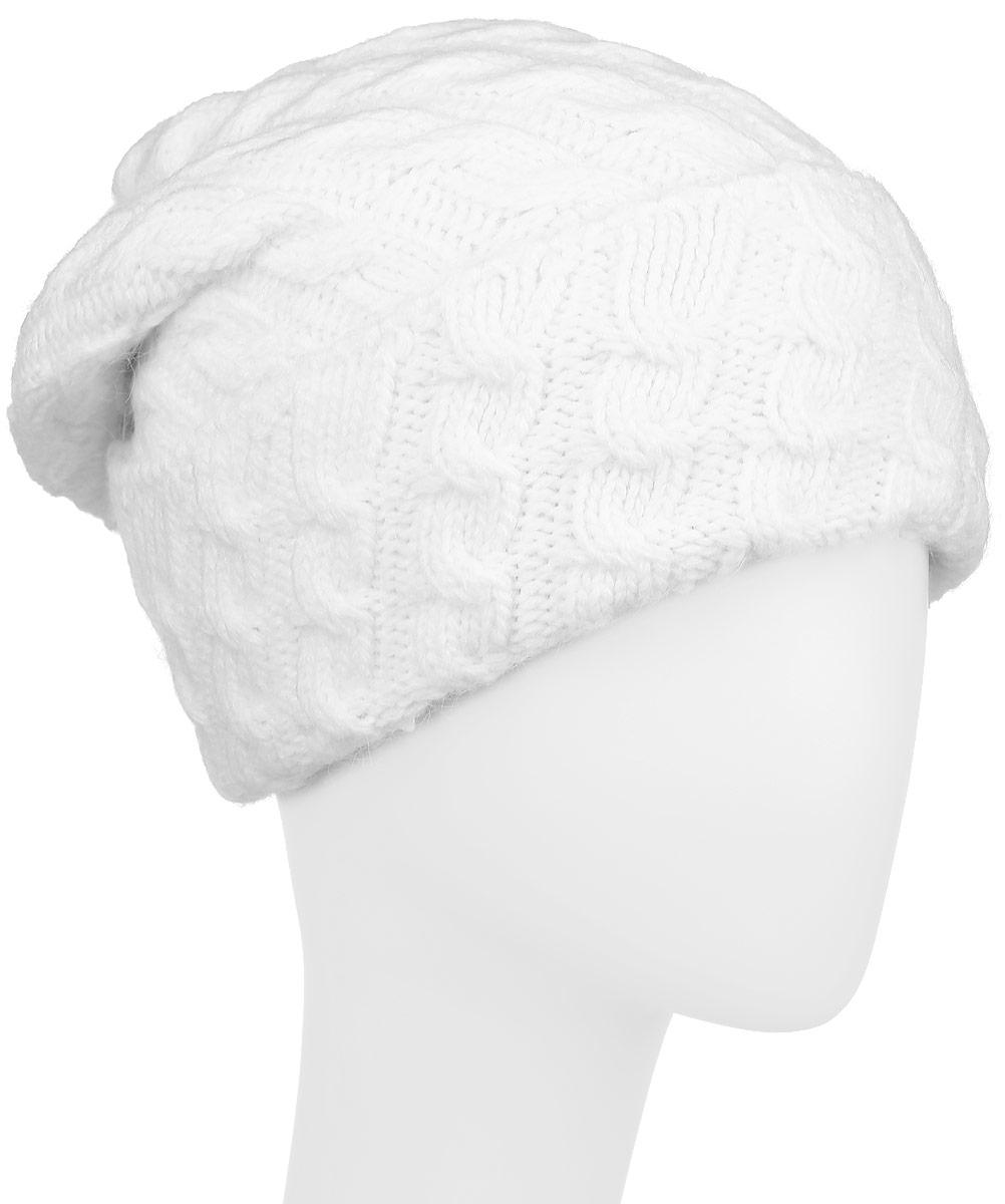 Шапка женская Finn Flare, цвет: белый. W16-32127_201. Размер 56W16-32127_201Женская шапка Finn Flare, выполненная из акрила с добавлением шерсти, отлично дополнит ваш образ в холодную погоду. Мягкая подкладка изготовлена из 100% полиэстера. Модель оформлена оригинальной вязкой и дополнена отворотом. Декорировано изделие фирменной металлической нашивкой. Шапка составит идеальный комплект с модной верхней одеждой и подарит вам уют и тепло.Уважаемые клиенты!Размер, доступный для заказа, является обхватом головы.