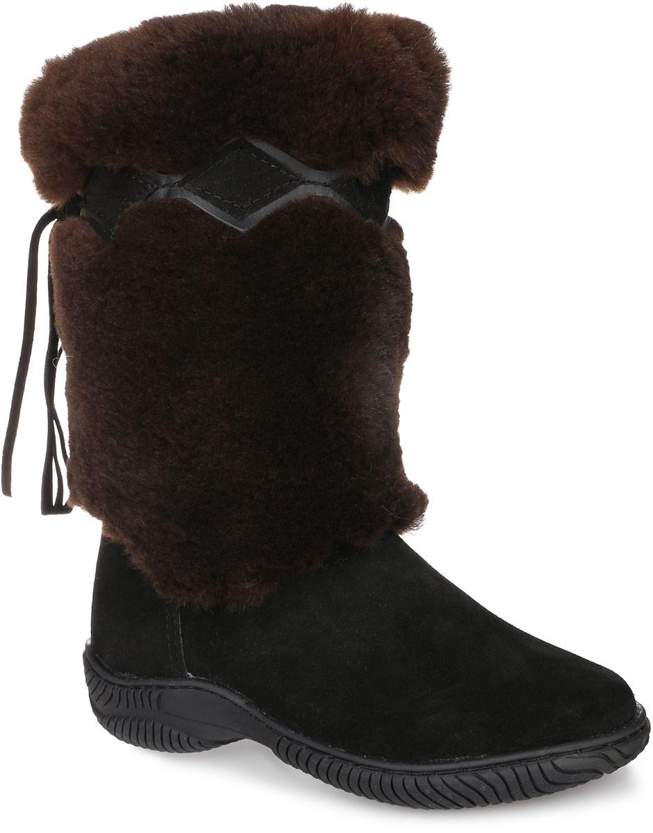 Унты женские 4U, цвет: черный, темно-коричневый. 4UУН-5. Размер 374UУН-5Стильные женские унты 4U выполнены из натуральной замши и натурального меха. Подкладка из натурального меха и стелька из шерсти не дадут вашим ногам замерзнуть. Модель не имеет застежек. Рифление на подошве обеспечивает отличное сцепление с любой поверхностью.
