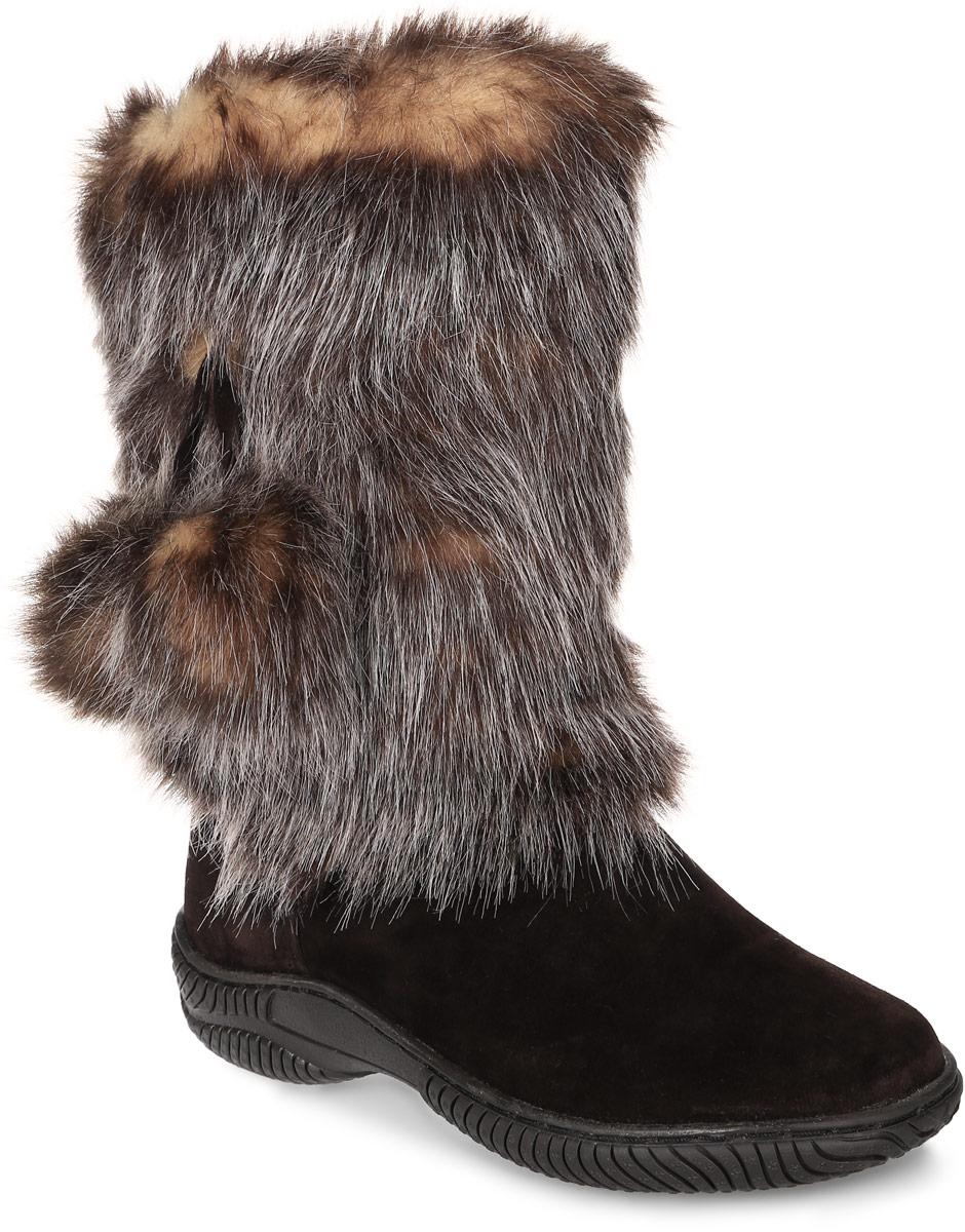 Унты женские 4U, цвет: темно-коричневый. 4UУЖ-32. Размер 404UУЖ-32Стильные женские унты 4U выполнены из натуральной замши и искусственного меха. Подкладка и стелька из натуральной шерсти не дадут вашим ногам замерзнуть. Модель не имеет застежек. Рифление на подошве обеспечивает отличное сцепление с любой поверхностью.