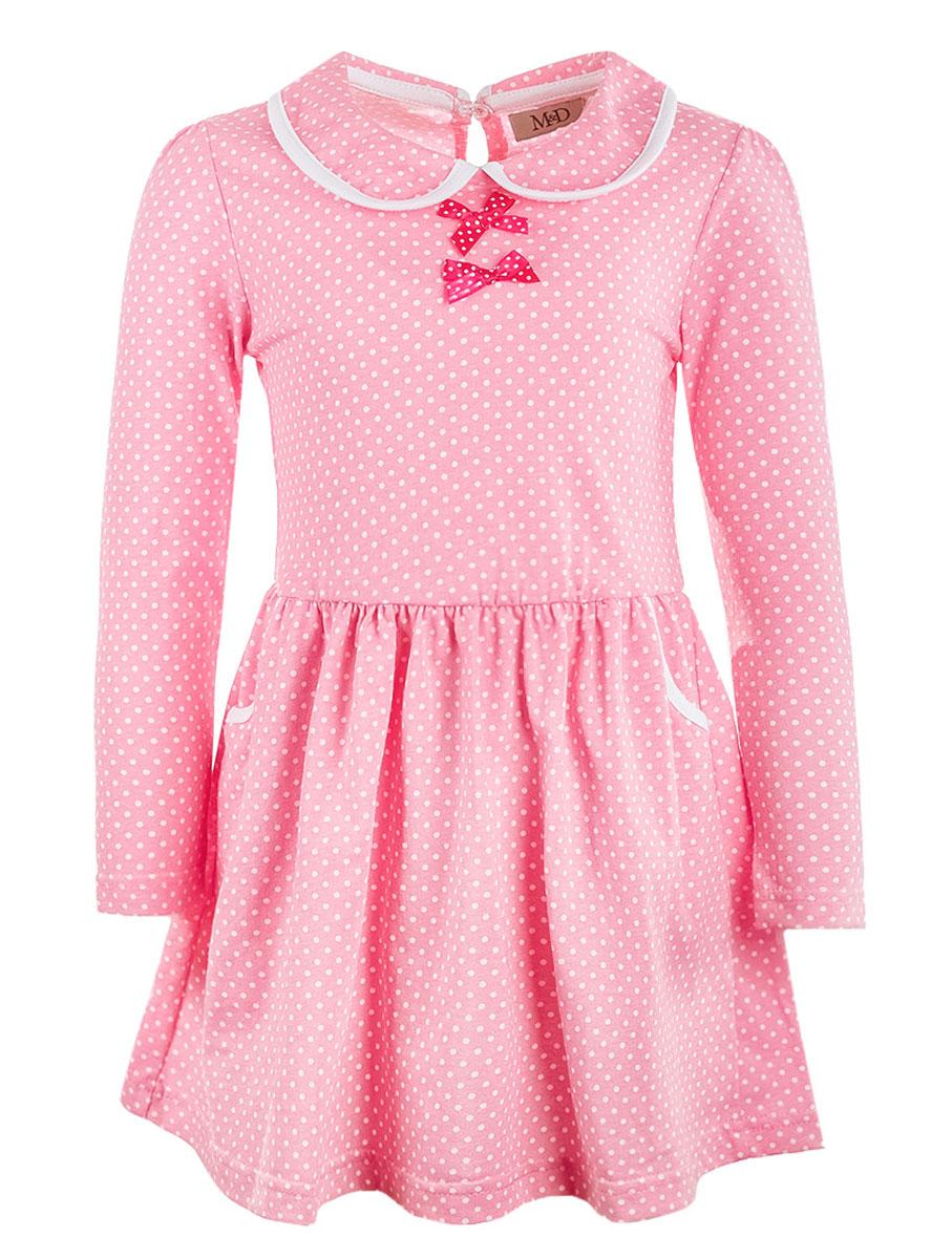 Платье для девочки M&D, цвет: розовый. WJD26043М-5. Размер 104WJD26043М-5Платье для девочки M&D изготовлено из натурального хлопка и застегивается сзади на пуговицу. Платье с отложным воротничком и длинными рукавами дополнено спереди двумя открытыми карманами. Модель декорирована на груди двумя атласными бантиками.