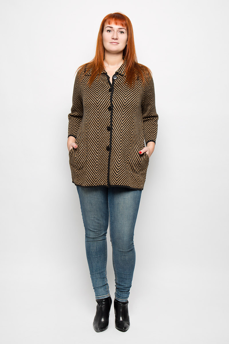 Кардиган женский Milana Style, цвет: черный, светло-коричневый. 1145. Размер 7XL (62)1145