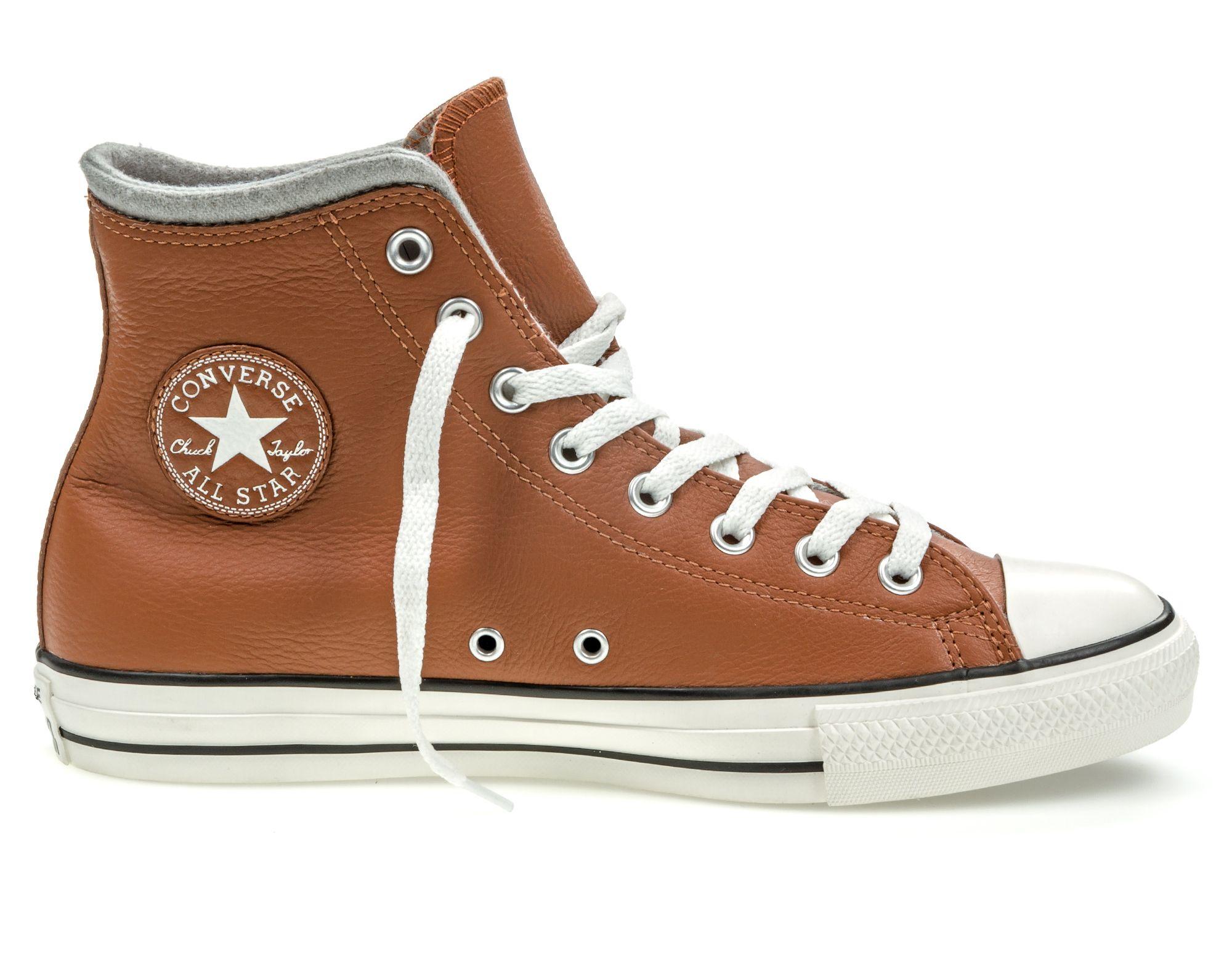 Кеды Converse Chuck Taylor All Star, цвет: коричневый. 153819. Размер 11 (45)153819Модные кеды Chuck Taylor All Star от Converse выполнены из натуральной кожи. Мыс модели защищен прорезиненной вставкой. Внутренняя поверхность и стелька из текстиля обеспечивают комфорт. Шнуровка надежно зафиксирует модель на ноге. Подошва дополнена рифлением.