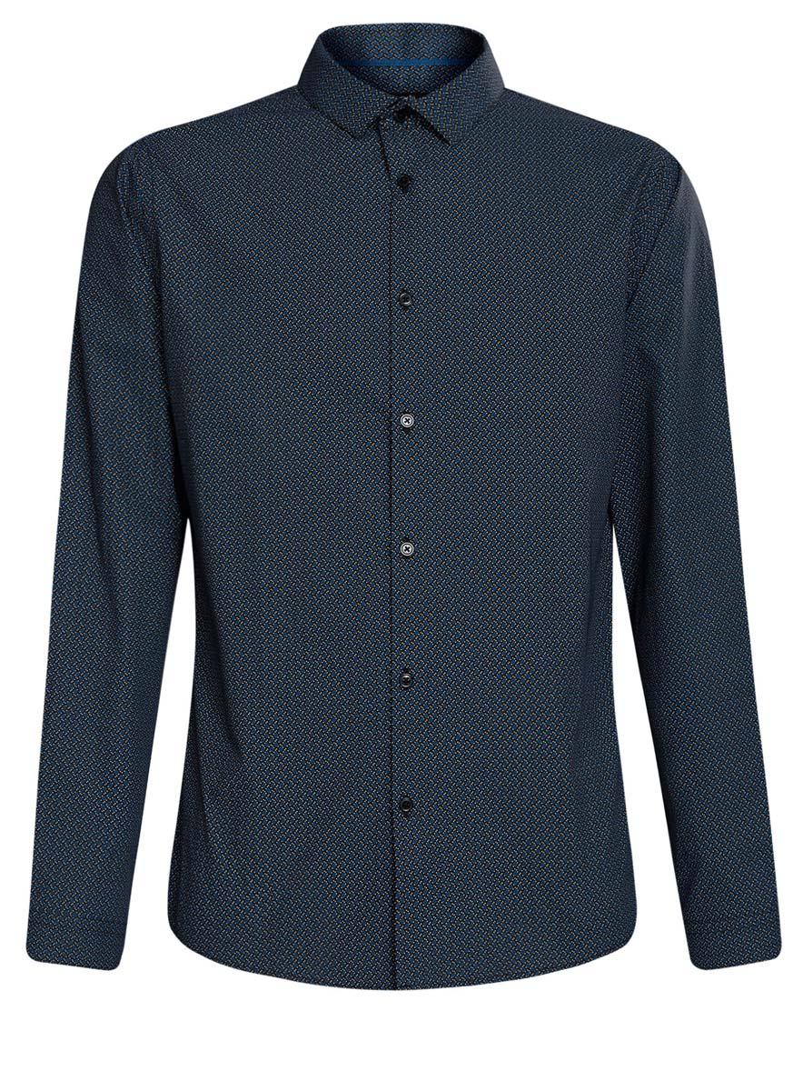 Рубашка мужская oodji Lab, цвет: черный, темно-синий. 3L110216M/19370N/2975G. Размер 42 (52-182)3L110216M/19370N/2975GСтильная мужская рубашка oodji Lab, выполненная из натурального хлопка, позволяет коже дышать, тем самым обеспечивая наибольший комфорт при носке. Модель-слим с отложным воротником и длинными рукавами застегивается на пуговицы по всей длине. Манжеты рукавов оснащены застежками-пуговицами. Изделие оформлено оригинальным принтом.