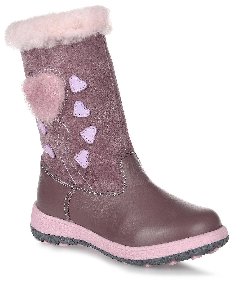 Сапоги для девочки Зебра, цвет: пепельно-розовый. 11212-20. Размер 2711212-20Теплые сапоги Зебра изготовлены из натуральной замши и натуральной кожи. Модель оформлена декоративными нашивками в виде сердец. На ноге модель фиксируется с помощью удобной застежки-молнии. Внутренняя поверхность и стелька выполнены из натурального меха, который обеспечит тепло и комфорт при носке. Подошва изготовлена из гибкого и прочного ТЭП-материала, а ее протектор гарантирует отличное сцепление с любой поверхностью.