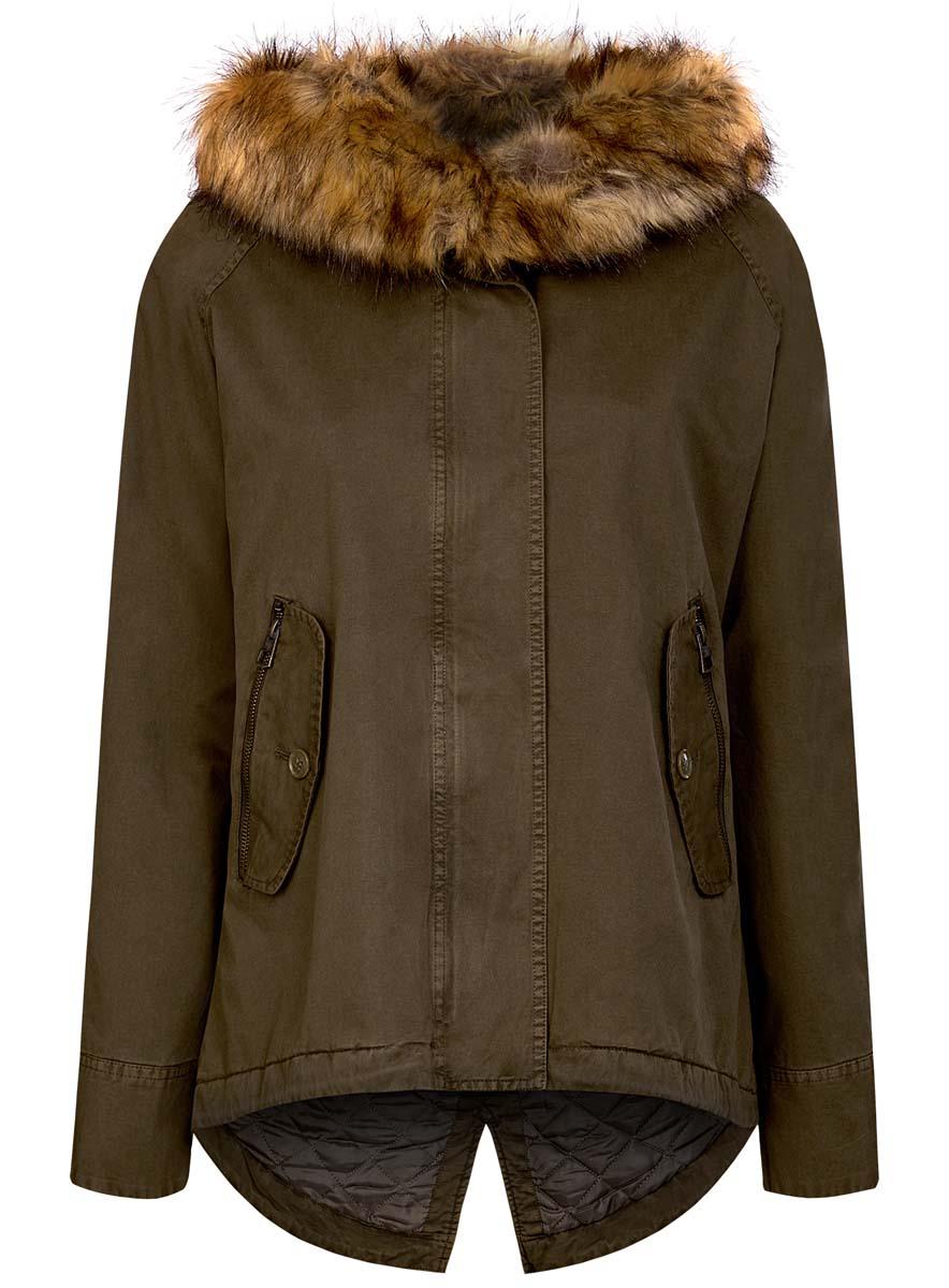 Куртка женская oodji Ultra, цвет: хаки. 11D03002-1/46027/6800N. Размер 36 (42-170)11D03002-1/46027/6800N