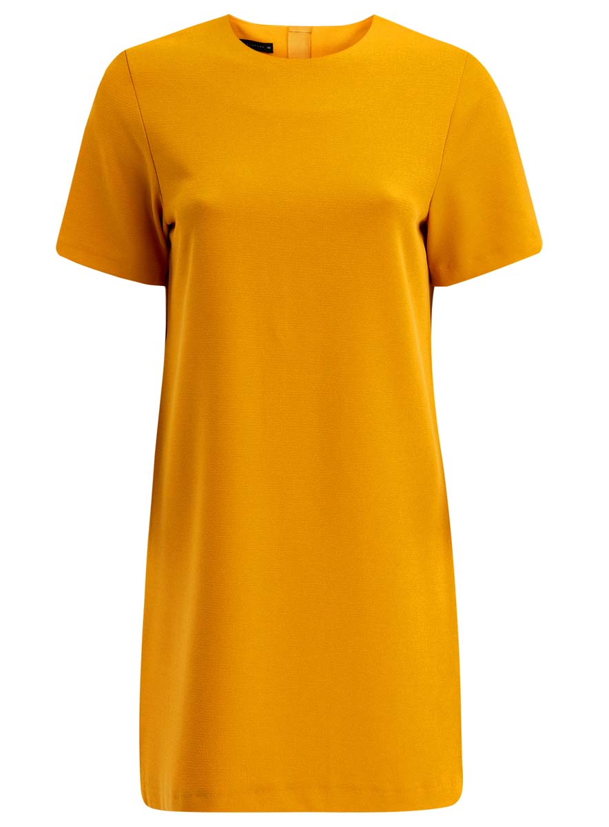 Платье oodji Collection, цвет: желтый. 21910002/42354/5200N. Размер 40 (46-170)21910002/42354/5200NПлатье oodji Collection выполнено из высококачественного материала Модель с короткими рукавами имеет круглый вырез горловины и застегивается на молнию на спинке. Стильное решение для любого мероприятия.
