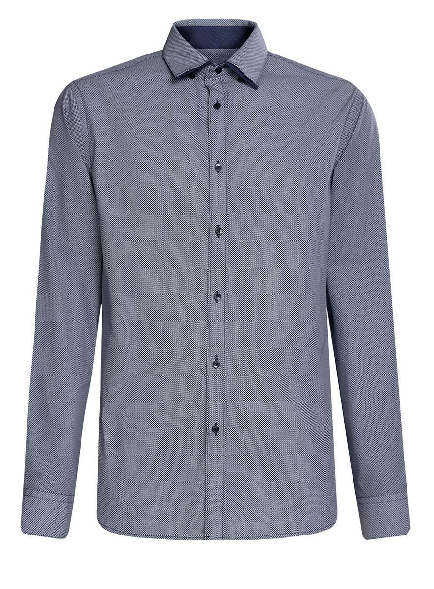 Рубашка мужская oodji, цвет: темно-синий, белый. 3L110223M/19370N/1079G. Размер 38 (44-182)3L110223M/19370N/1079GСтильная мужская рубашка oodji выполнена из натурального хлопка. Модель с отложным воротником и длинными рукавами застегивается на пуговицы спереди. Манжеты рукавов дополнены застежками-пуговицами. Оформлена рубашка оригинальным принтом в мелкий узор.