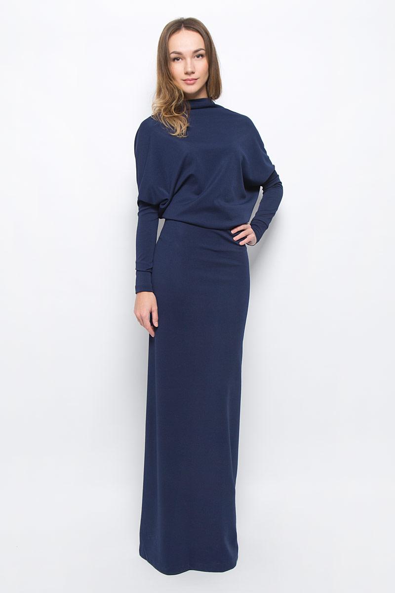 Платье Ruxara, цвет: темно-синий. 0103603. Размер 460103603Элегантное платье Ruxara станет отличным дополнением к вашему гардеробу. Модель выполнена из микрофибры с добавлением спандекса. Платье-макси с воротником-качели и длинными рукавами оформлено вырезом на спинке.