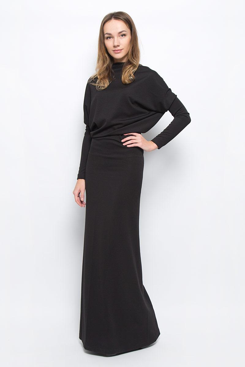 Платье Ruxara, цвет: черный. 0103603. Размер 420103603Элегантное платье Ruxara станет отличным дополнением к вашему гардеробу. Модель выполнена из микрофибры с добавлением спандекса. Платье-макси с воротником-качели и длинными рукавами оформлено вырезом на спинке.