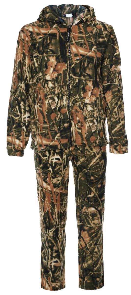 Костюм рыболовный мужской Cosmo-Tex Зверобой: толстовка, брюки, цвет: зеленый, коричневый. 1029. Размер 44/46, 170-176 см1029Мужской рыболовный костюм Cosmo-Tex Зверобой выполнен из мягкого флиса. Он включает в себя толстовку и свободные прямые брюки.Толстовка с длинными рукавами и капюшоном застегивается на застежку-молнию спереди. Модель дополнена двумя накладными карманами спереди. Объем капюшона регулируется при помощи шнурка-кулиски. Низ толстовки также дополнен шнурком-кулиской. Брюки прямого кроя и средней посадки изготовлены имеют широкую эластичную резинку на поясе, объем талии регулируется при помощи шнурка-кулиски. Изделие дополнено двумя втачными карманами спереди.Комплект оформлен защитным принтом.