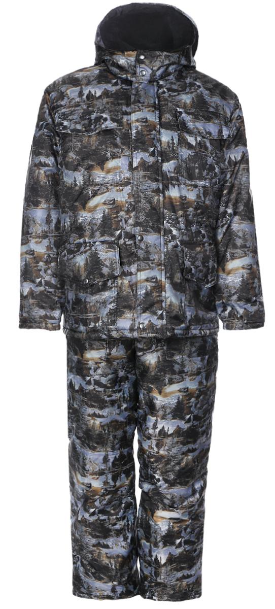 Костюм рыболовный мужской Cosmo-Tex Рыбак: куртка, полукомбинезон, цвет: серый, коричневый. 4978. Размер 56/58, 182-188 см4978Мужской рыболовный костюм Cosmo-Tex Рыбак включает в себя куртку и утепленный полукомбинезон. Куртка и полукомбинезон выполнены из прочного полиэстера, наполнитель - синтепон.Куртка с воротником-стойкой, съемным капюшоном на кнопках и длинными рукавами застегивается на застежку-молниюи имеет ветрозащитный клапан на кнопках. Рукава дополнены трикотажными внутренними манжетами. Спереди имеются четыре накладных кармана с клапанами на кнопках, изнутри - накладной карман. Куртка дополнена шнурком-кулиской со стопперами на талии.Полукомбинезон застегивается на пластиковую молнию. Изделие дополнено эластичными наплечными лямками с фастексами, регулируемыми по длине. Спереди расположены два втачных кармана. Костюм оформлен защитным принтом.