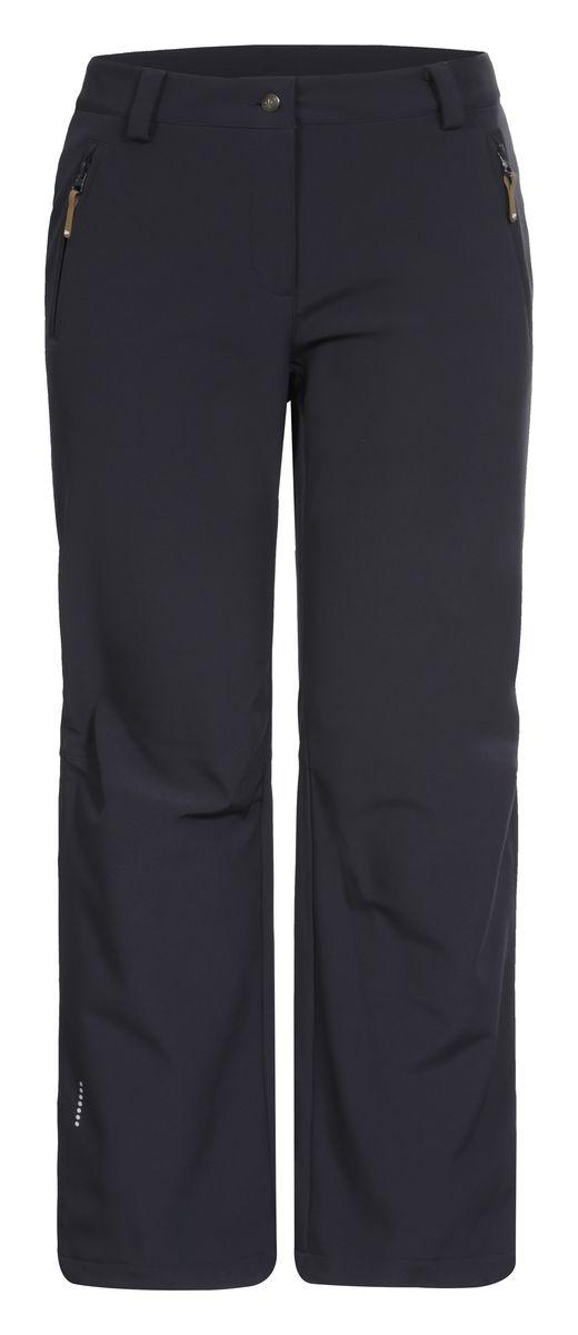 Брюки женские Icepeak Savita, цвет: темно-серый. 654020542IV. Размер 42 (48)654020542IV_290Женские брюки от Icepeak выполнены из эластичного полиэстера, с изнаночной стороны они утеплены флисом. Модель застегивается на пуговицу в талии и ширинку на молнии, имеются шлевки для ремня. Спереди брюки дополнены двумя врезными карманами на застежках-молниях. Изделие оснащено светоотражающими элементами.Рекомендуемый температурный режим для данной модели до -5°С из расчета на среднюю физическую активность, ходьбу 4 км/ч.