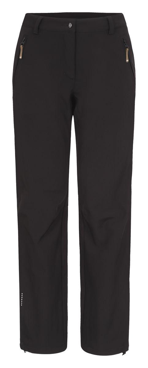 Брюки женские Icepeak Savita, цвет: черный. 654020542IV. Размер 38 (44)654020542IVЖенские брюки от Icepeak выполнены из эластичного полиэстера, с изнаночной стороны они утеплены флисом. Модель застегивается на пуговицу в талии и ширинку на молнии, имеются шлевки для ремня. Спереди брюки дополнены двумя врезными карманами на застежках-молниях. Изделие оснащено светоотражающими элементами.Рекомендуемый температурный режим для данной модели до -5°С из расчета на среднюю физическую активность, ходьбу 4 км/ч.