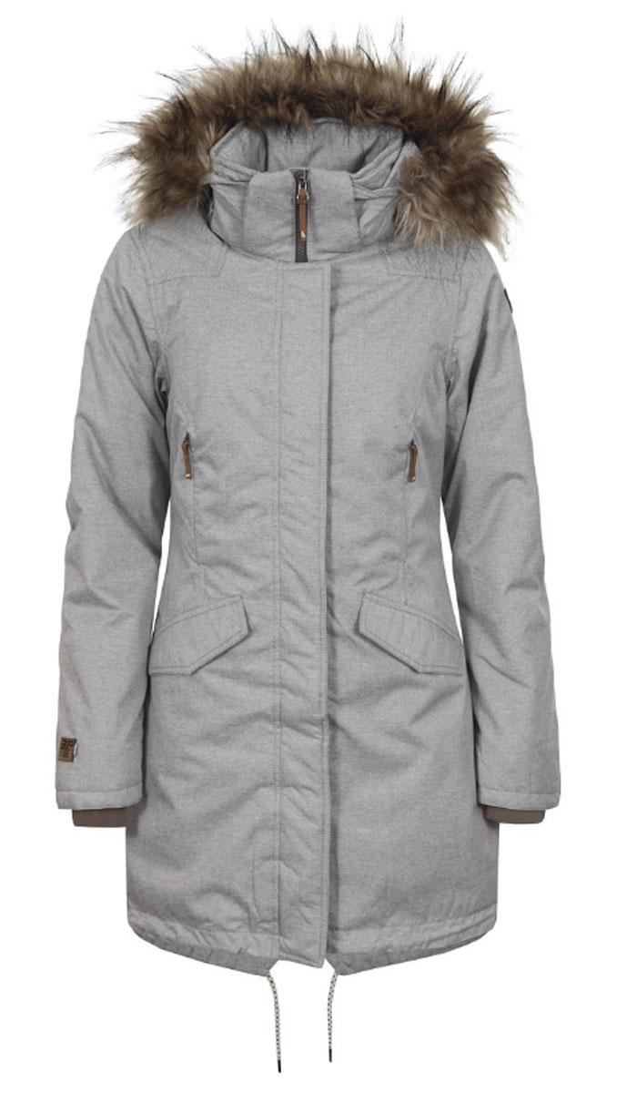 Куртка женская Icepeak Tamara, цвет: серый меланж. 653042592IV. Размер 40 (46)653042592IVУдобное женское пальто Icepeak согреет вас в прохладную погоду и позволит выделиться из толпы. Модель с длинными рукавами, воротником-стойкой и съемным капюшоном выполнена из водонепроницаемой и непродуваемой мембранной ткани. Подкладка и утеплитель выполнен из высококачественного полиэстера (120 г/м2). Объем капюшона регулируется при помощи шнурка-кулиски со стопперами, он оформлен искусственным мехом, который пристегивается с помощью кнопок и молнии.Пальто застегивается на застежку-молнию спереди и имеет ветрозащитный клапан на кнопках. Изделие дополнено двумя втачными карманами с клапанами на кнопках спереди, внутренним карманом на застежке-молнии и внутренним карманом-сеткой. Манжеты рукавов дополнены внутренними трикотажными манжетами. Низ и линия талии изделия дополнены шнурками-кулисками со стопперами.