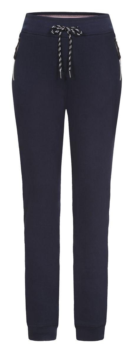 Брюки женские Luhta, цвет: темно-синий. 636708319LV. Размер XL (48)636708319LVУдобные спортивные женские брюки Luhta выполнены из хлопка с добавлением полиэстера. Пояс дополнен эластичной резинкой и шнурком. По бокам брюки оформлены прорезными карманами на застежках-молниях и дополнены имитированной ширинкой. Низ изделия оформлен трикотажными резинками.