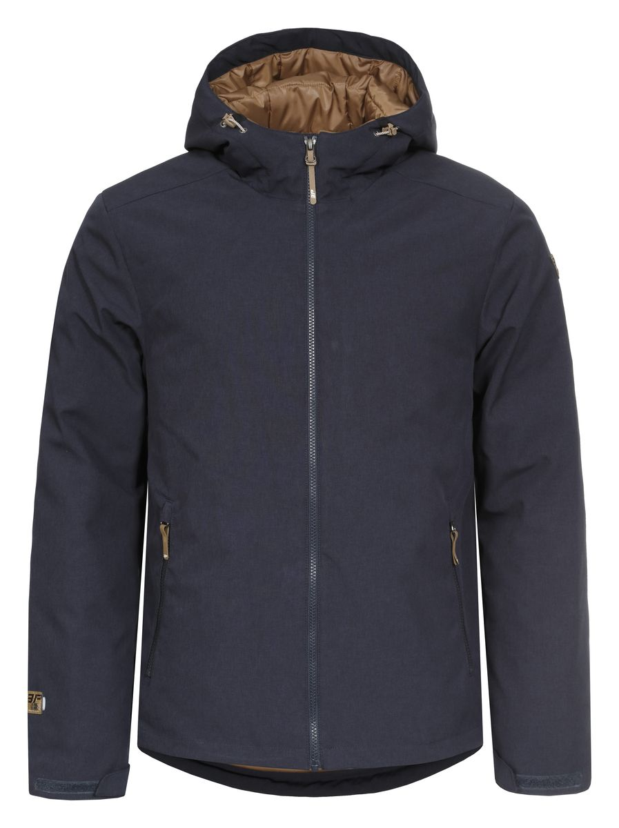 Куртка мужская Icepeak Timi, цвет: темно-синий. 657802547IV. Размер M (50)657802547IVКуртка Icepeak Timi, изготовленная из водоотталкивающей и ветрозащитной ткани, которая создает оптимальный микроклимат внутри куртки, в качестве утеплителя используется Ball Fiber (искусственный пух: 140г). Помимо этого здесь использовался утеплитель. Куртка с несъемным капюшоном застегивается на молнию с внутренним ветрозащитным клапаном. Рукава дополнены хлястиками на липучках для регулировки размера. Спереди куртка дополнена двумя врезными карманами на молнии, а с внутренней стороны расположены один втачной карман на молнии. Низ куртки дополнен кулиской со стопперами.