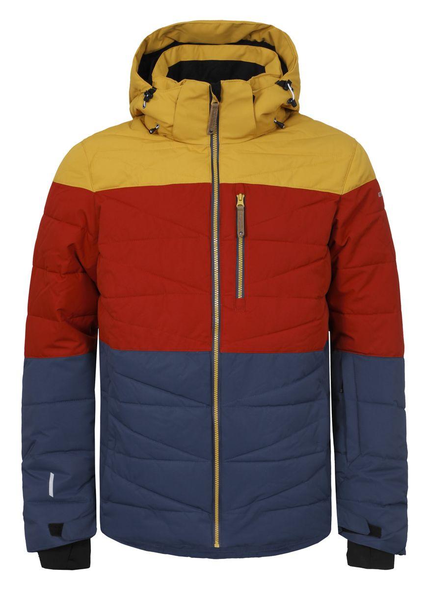 Куртка мужская Icepeak Kelson, цвет: синий, красный, желтый. 656234553IV. Размер M (50)656234553IVМужская куртка Icepeak Kelson выполнена из полиэстера с подкладкой из синтепона.Модель с длинными рукавами, воротником-стойкой и съемным капюшоном на застежке-молнии и кнопках застегивается на застежку-молнию спереди. Изделие дополнено тремя втачными карманами на застежках-молниях, внутренним втачным карманом на молнии и двумя накладными карманами-сетками, а также небольшим втачным кармашком на рукаве. Рукава дополнены текстильными внутренними манжетами, а также хлястиками с липучками, которые позволяют регулировать обхват манжет. Куртка оснащена съемной внутренней противоснежной вставкой на застежке-молнии и кнопках. Низ куртки дополнен шнурком-кулиской.