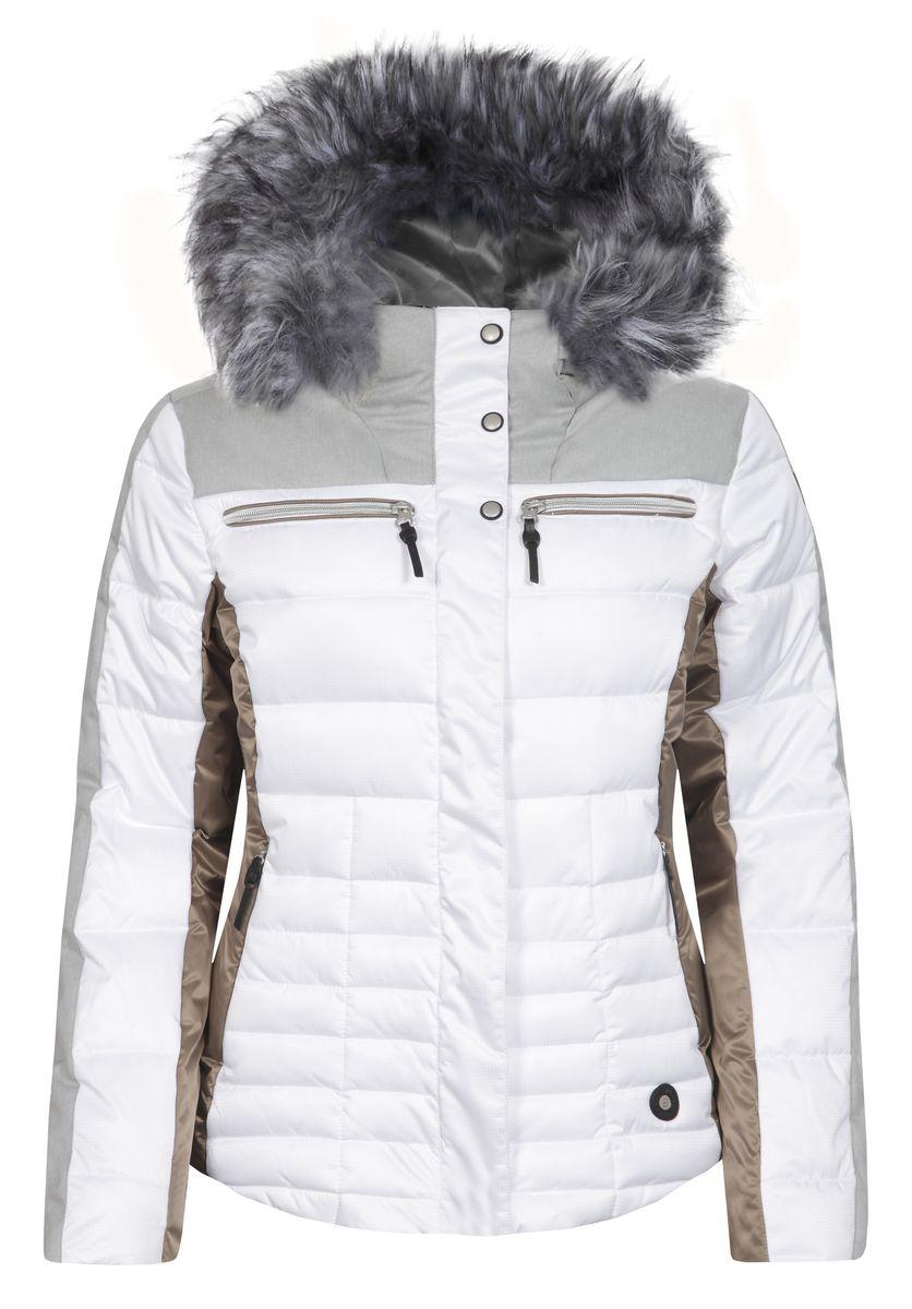 Куртка женская Icepeak Cathy, цвет: белый, серый. 653224512IV. Размер 38 (44)653224512IVКуртка Icepeak, изготовленная из водоотталкивающей и ветрозащитной ткани, которая создает оптимальный микроклимат внутри куртки, утеплена синтепоном. В качестве подкладкииспользуется полиамид. Куртка с несъемным капюшоном застегивается на застежку-молнию и имеет ветрозащитный клапан на кнопках. Капюшон оформлен съемным искусственным мехом на застежке-молнии и регулируетсяс помощью эластичного шнурка-кулиски со стопперами. Куртка оформлена четырьмя втачными карманами на застежках-молниях спереди, с внутренней стороны расположен один втачной карман на молнии. Низ куртки дополнен шнурком-кулиской со стопперами. Также модель дополнена снегозащитной юбкой на кнопках.Изделие оснащено светоотражающими элементами.