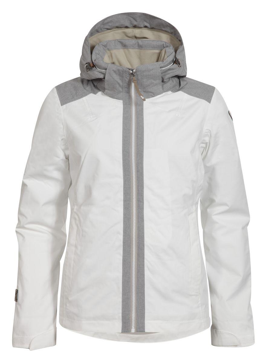 Куртка женская Icepeak Telma, цвет: белый, серый. 653029553IV. Размер 40 (46)653029553IVЖенская куртка Icepeak Telma выполнена из непромокаемой и непродуваемой ткани.Куртка с воротником-стойкой и съемным капюшоном на застежке-молнии, липучках и кнопках застегивается на удобную застежку-молнию спереди. Капюшон дополнен шнурком-кулиской со стопперами. Рукава оснащены хлястиками на липучках. Спереди расположены два втачных кармана на застежках-молниях, изнутри - втачной карман на застежке-молнии. Швы проклеены.