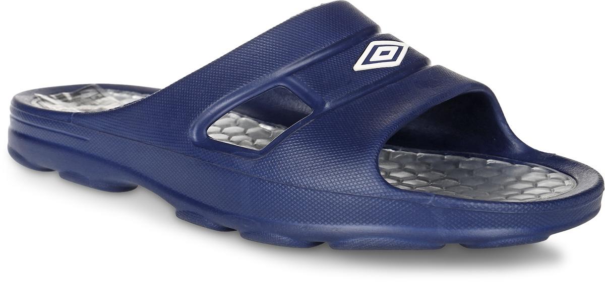 Шлепанцы мужские Umbro Slide, цвет: темно-синий, серебряный. 80490U. Размер 9 (41)80490U_темно-синий, белыйШлепанцы Umbro Slide выполнены из легкого и пластичного ЭВА-материала и оформлены логотипом бренда. Рельефная стелька выполнена из резины. Подошва оснащена протектором, который гарантирует отличное сцепление с любой поверхностью.