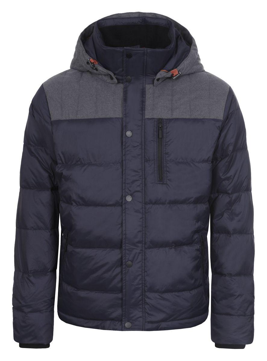 Куртка мужская Luhta Patric, цвет: темно-синий. 636566386LV. Размер 52636566386LVМужская куртка Luhta Patric изготовлена из 100% полиэстера и полиамида. В качестве утеплителя используется пух с добавлением пера.Куртка с воротником-стойкой и съемным капюшоном застегивается на застежку-молнию, а также дополнительно имеет внутреннюю ветрозащитную планку на кнопках. Капюшон оснащен эластичными шнурками со стопперами и пристегивается к куртке с помощью кнопок. Рукава дополнены внутренними эластичными манжетами. Объем по низу регулируется с помощью эластичного шнурка со стоппером. Спереди имеются три прорезных кармана на застежках-молниях, с внутренней стороны накладной карман на кнопке. На левом рукаве расположена небольшая металлическая пластина с названиембренда.