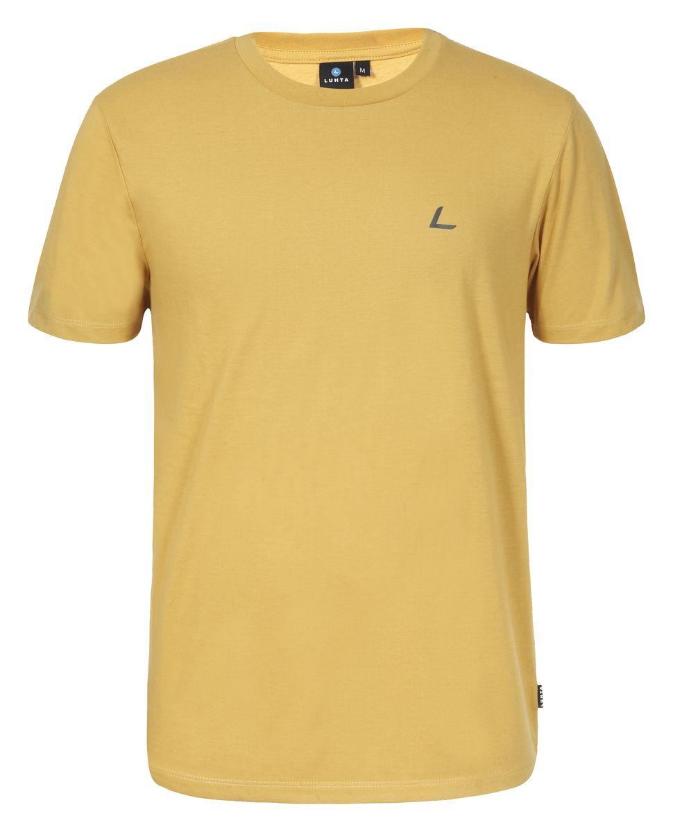 Футболка мужская Luhta Okko, цвет: горчичный. 636548689LV. Размер M (50)636548689LVМужская футболка Luhta Okko выполнена из полиэстера с хлопком. Модель с круглым вырезом горловины и короткими рукавами.