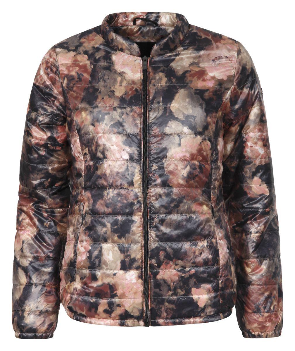 Куртка женская Luhta Isla, цвет: оранжевый, черный. 636479364LV. Размер 38 (44)636479364LVЖенская куртка Luhta Piiku с длинными рукавами и круглым вырезом горловины выполнена из полиамида. Наполнитель - синтепон. Куртка застегивается на застежку-молнию спереди. Изделие оснащено двумя втачными карманами на молниях спереди и внутренним втачным карманом на застежке-молнии. Куртка оформлена красочным цветочным принтом.