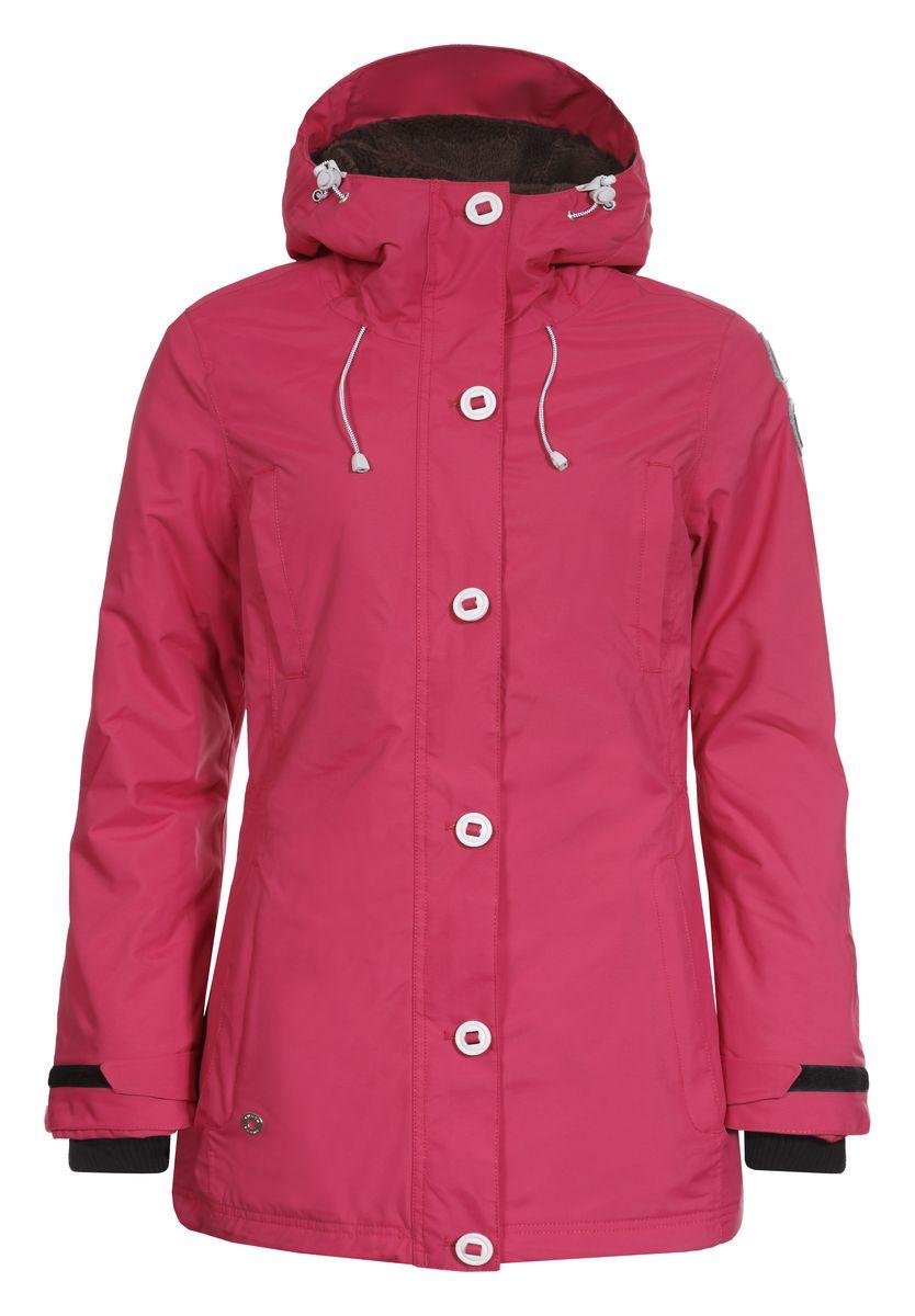 Куртка женская Luhta Bernice, цвет: розовый. 636427377LV. Размер 40 (46)636427377LVЖенская куртка Luhta Bernice с длинными рукавами и несъемным капюшоном выполнена из полиамида. Наполнитель - полиэстер.Куртка застегивается на застежку-молнию спереди и имеет ветрозащитный клапан на пуговицах. Изделие оснащено двумя втачными карманами на застежках-молниях и двумя открытыми втачными карманами спереди, а также внутренним втачным карманом на молнии и накладным карманом-сеткой. Рукава оснащены внутренними трикотажными манжетами. На талии и по низу куртка дополнена шнурками-кулисками со стопперами. Объем капюшона также регулируется при помощи шнурка-кулиски.