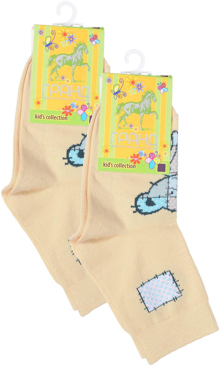Носки детские Гранд, цвет: бледно-желтый, 2 пары. YCL41. Размер 18/20YCL41Яркие детские носки Гранд, изготовленные из высококачественного хлопка с добавлением полиамида и эластана, обеспечат тепло ногам и великолепную посадку. Носки оформлены оригинальным принтом. Удобная резинка идеально облегает ногу и не пережимает сосуды, удлиненный паголенок придает более эстетичный вид. Мыс и носок усилены. В комплект входят две пары носков.