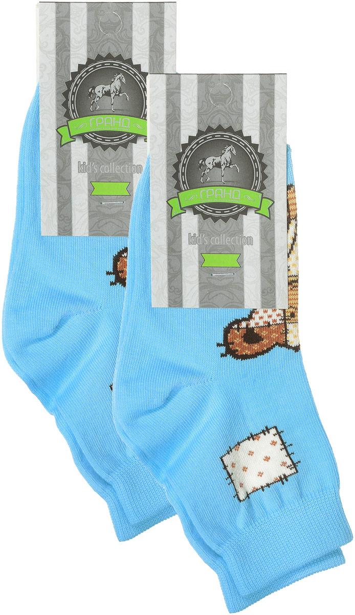 Носки детские Гранд, цвет: голубой, 2 пары. YCL41. Размер 18/20YCL41Яркие детские носки Гранд, изготовленные из высококачественного хлопка с добавлением полиамида и эластана, обеспечат тепло ногам и великолепную посадку. Носки оформлены оригинальным принтом. Удобная резинка идеально облегает ногу и не пережимает сосуды, удлиненный паголенок придает более эстетичный вид. Мыс и носок усилены. В комплект входят две пары носков.