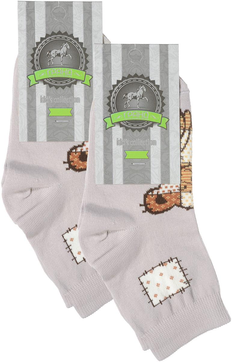 Носки детские Гранд, цвет: серо-бежевый, 2 пары. YCL41. Размер 16/18YCL41Яркие детские носки Гранд, изготовленные из высококачественного хлопка с добавлением полиамида и эластана, обеспечат тепло ногам и великолепную посадку. Носки оформлены оригинальным принтом. Удобная резинка идеально облегает ногу и не пережимает сосуды, удлиненный паголенок придает более эстетичный вид. Мыс и носок усилены. В комплект входят две пары носков.
