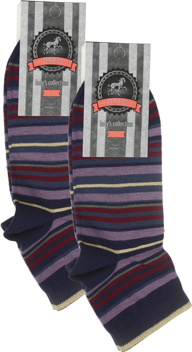 Носки женские Гранд, цвет: темно-синий, мультиколор, 2 пары. SCL66. Размер 23/25SCL66Женский носки Гранд изготовлены из высококачественного хлопка с добавлением полиамидных и эластановых волокон, которые обеспечивают великолепную посадку.Удобная резинка идеально облегает ногу и не пережимает сосуды, а укороченный паголенок придает более эстетичный вид. Мысок и пятка усилены. В комплект входят две пары носков. Модель оформлена принтом в полоску.