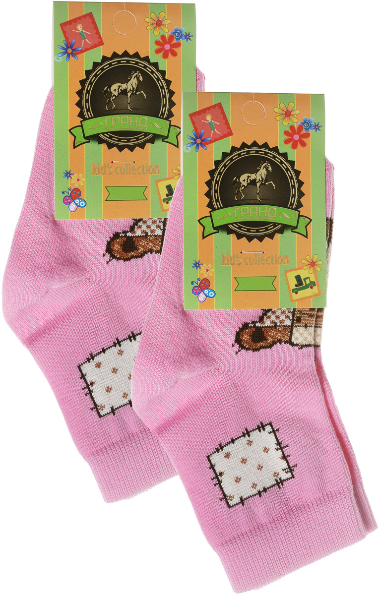 Носки детские Гранд, цвет: розовый, 2 пары. YCL41. Размер 18/20YCL41Яркие детские носки Гранд, изготовленные из высококачественного хлопка с добавлением полиамида и эластана, обеспечат тепло ногам и великолепную посадку. Носки оформлены оригинальным принтом. Удобная резинка идеально облегает ногу и не пережимает сосуды, удлиненный паголенок придает более эстетичный вид. Мыс и носок усилены. В комплект входят две пары носков.
