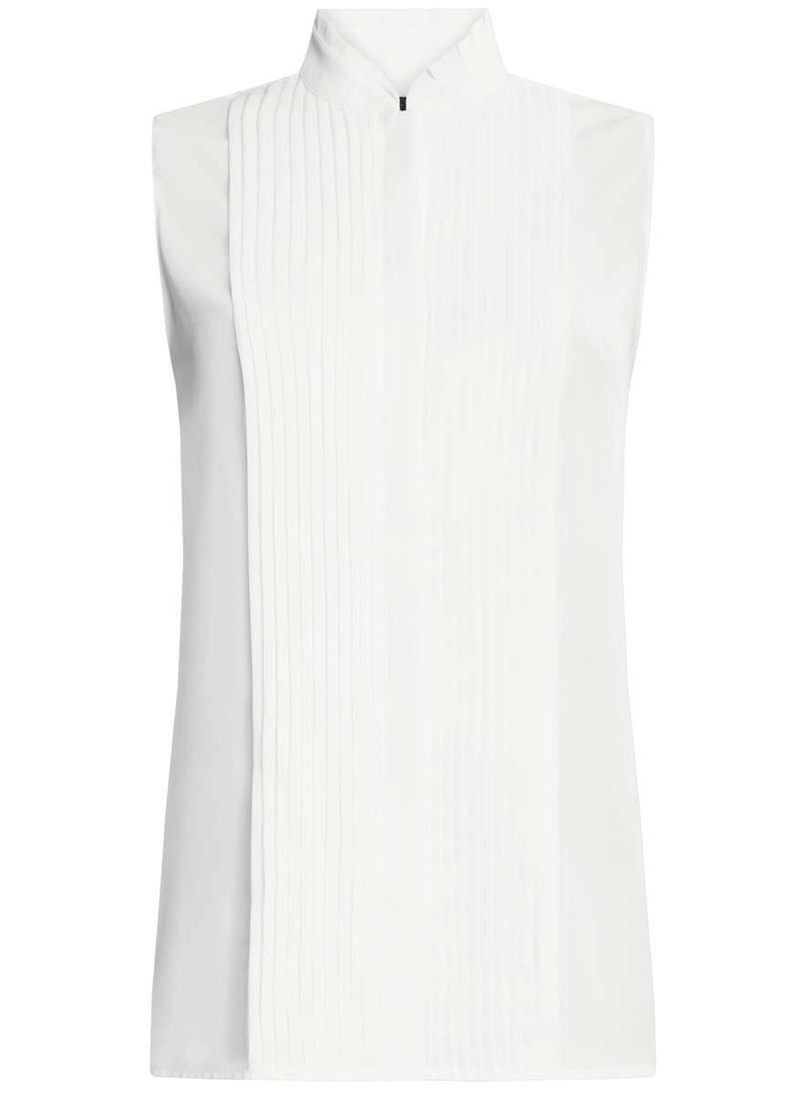 Блузка женская oodji Ultra, цвет: белый. 11410017/36215/1200N. Размер 42 (48-170)11410017/36215/1200NЖенская блузка oodji Ultra без рукавов имеет свободный крой и воротник-стойку, спереди застегивается на скрытые пуговицы и оформлено декоративным гофре.