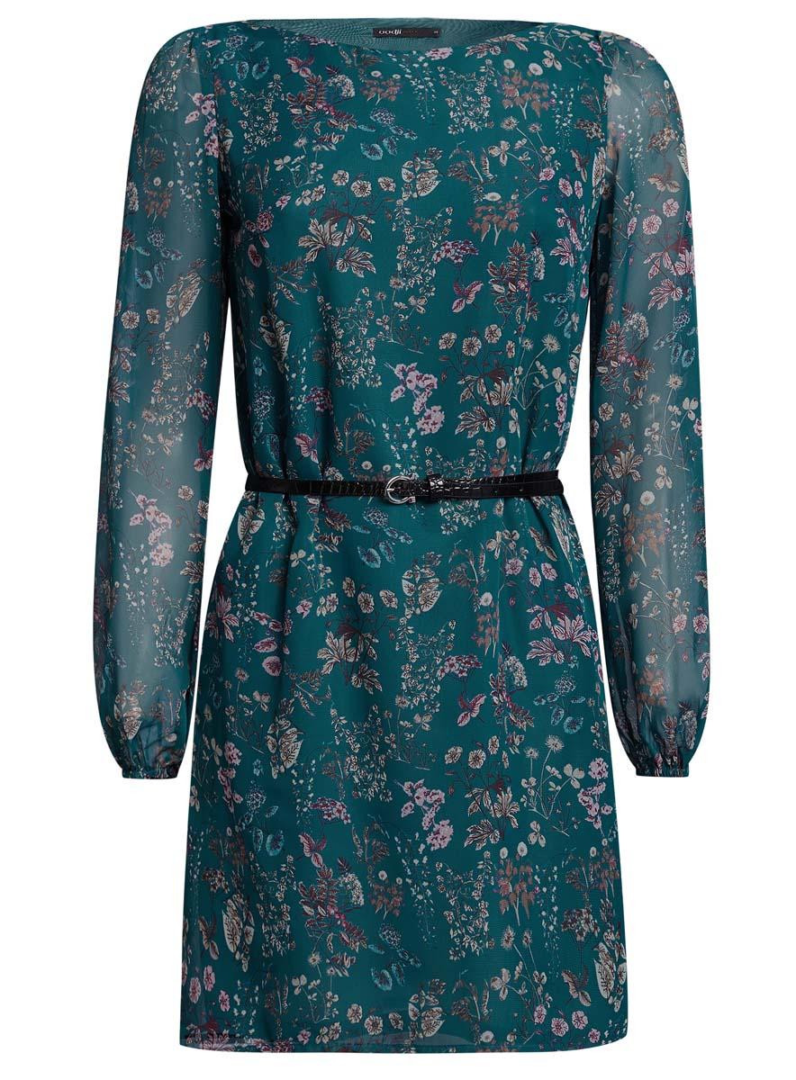Платье oodji Ultra, цвет: темно-бирюзовый. 11900150-5/13632/6D4AF. Размер 38 (44-170)11900150-5/13632/6D4AFСтильное платье oodji Ultra выполнено из 100% полиэстера. Модель с круглым вырезом горловины и длинными рукавами оформлена интересным принтом. В комплект входит ремень из искусственной кожи с металлической пряжкой.