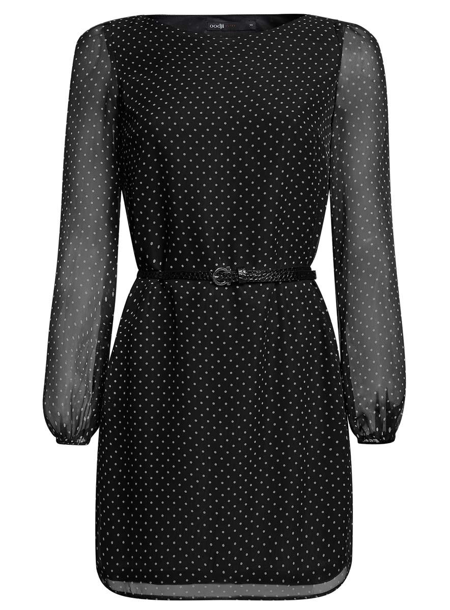 Платье oodji Ultra, цвет: черный, белый. 11900150-5/13632/2912D. Размер 34 (40-170)11900150-5/13632/2912DСтильное платье oodji Ultra выполнено из 100% полиэстера. Модель с круглым вырезом горловины и длинными рукавами оформлена интересным принтом. В комплект входит ремень из искусственной кожи с металлической пряжкой.