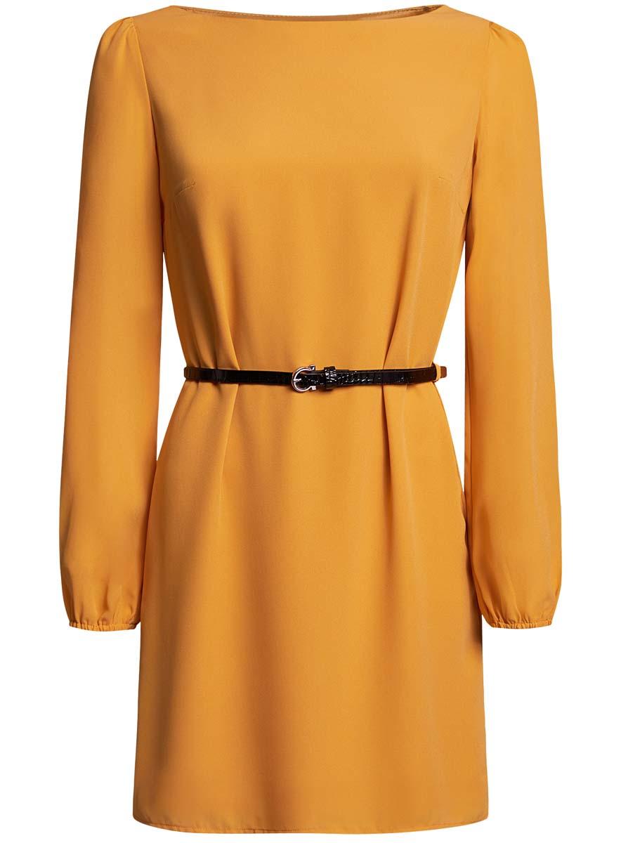 Платье oodji Ultra, цвет: желтый. 11900150-5B/32823/5200N. Размер 34 (40-170)11900150-5B/32823/5200NСтильное платье oodji Ultra выполнено из воздушного шифона. Модель с круглым вырезом горловины и длинными рукавами дополнена узким ремнем из искусственной кожи с металлической пряжкой.