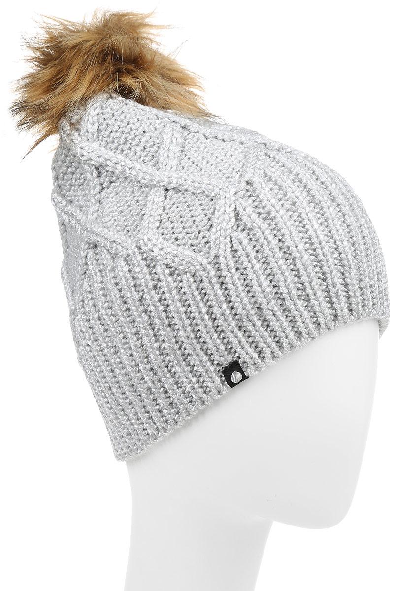 Шапка женская Icepeak, цвет: серебристый. 655808865IV. Размер универсальный655808865IVСтильная женская шапка Icepeak дополнит ваш наряд и не позволит вам замерзнуть. Шапка выполнена из сочетания полиамида с акрилом, что позволяет ей великолепно сохранять тепло, и имеет подкладку из мягкого полиэстера. Модель дополнена пушистым помпоном и металлической нашивкой с логотипом бренда.