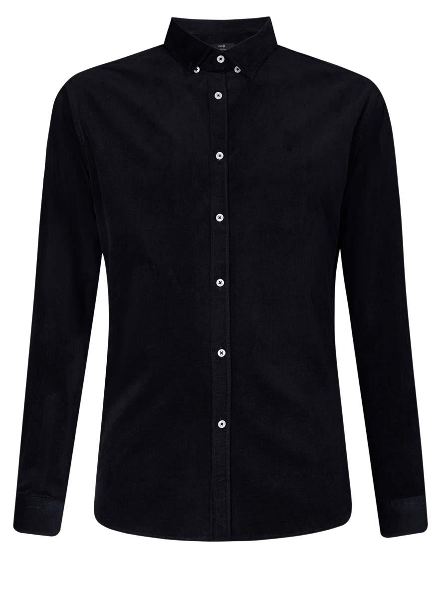 Рубашка мужская oodji Lab, цвет: темно-синий. 3L110218M/44424N/7900N. Размер 44 (56-182)3L110218M/44424N/7900NСтильная мужская рубашка oodji Lab, выполненная из эластичного хлопка, позволяет коже дышать, тем самым обеспечивая наибольший комфорт при носке. Модель-слим с отложным воротником и длинными рукавами застегивается на пуговицы по всей длине. Манжеты рукавов оснащены застежками-пуговицами. Воротник пристегивается к рубашке с помощью пуговиц.