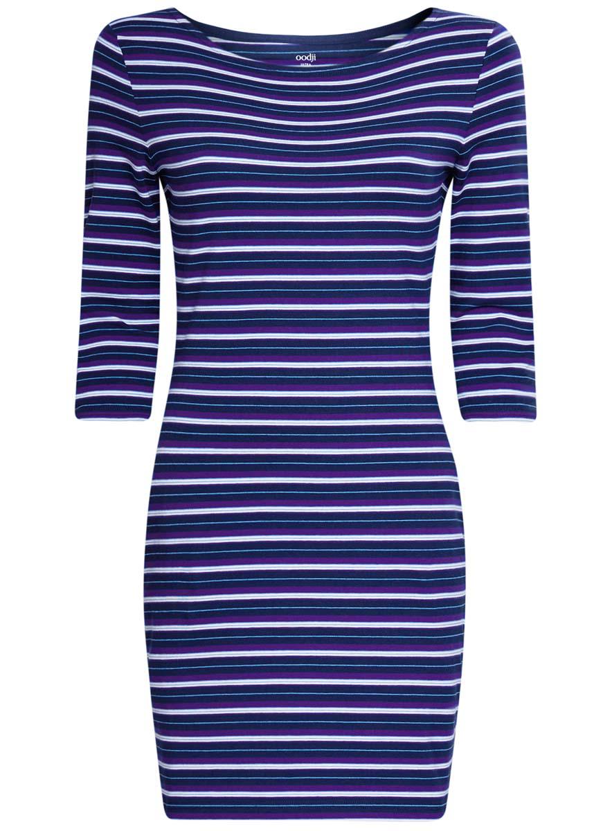 Платье oodji Ultra, цвет: темно-синий, синий. 14001071-2B/46148/7975S. Размер L (48)14001071-2B/46148/7975SСтильное платье oodji Ultra, выполненное из эластичного хлопка, отлично дополнит ваш гардероб. Модель мини-длины с круглым вырезом лодочкой и рукавами 3/4 оформлена принтом в полоску.