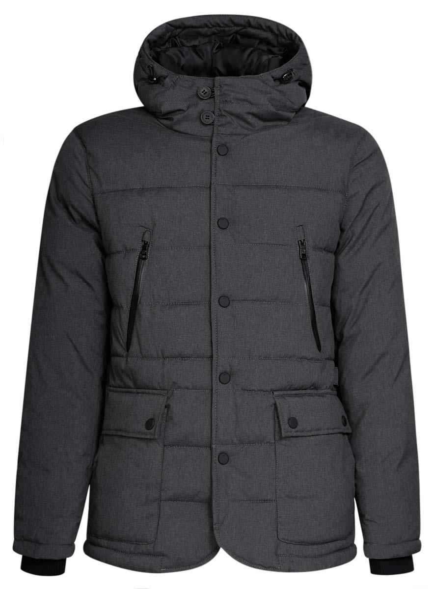 Куртка мужская oodji Lab, цвет: темно-серый меланж. 1L412024M/44447N/2500M. Размер L (52/54-182)1L412024M/44447N/2500MСтильная мужская куртка oodji Lab изготовлена из высококачественного полиэстера. В качестве утеплителя используется полиэстер.Модель с несъемным капюшоном застегивается на застежку-молнию, и дополнительно на кнопки и пуговицы. Капюшон регулируется с помощью эластичного шнурка со стопперами. Спереди расположены четыре накладных кармана, два из которых с клапанами на кнопках, на груди - два прорезных кармана на застежках-молниях, с внутренней стороны - прорезной карман на застежке-молнии.Манжеты рукавов дополнены трикотажными напульсниками. По бокам модель дополнена регулирующими ремешками с пряжками.