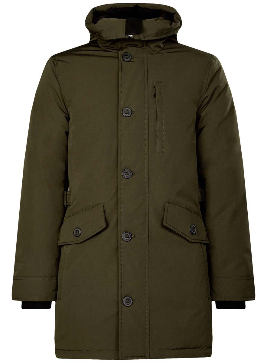 Куртка мужская oodji Lab, цвет: хаки. 1L414003M/44429N/6600N. Размер S (46/48-182)1L414003M/44429N/6600NСтильная мужская куртка oodji Lab изготовлена из полиэстера с добавлением хлопка. В качестве утеплителя используется полиэстер.Куртка с несъемным капюшоном застегивается на застежку-молнию и дополнительно на клапан с пуговицами. Капюшон регулируется с помощью эластичного шнурка и ремешка. Спереди расположены четыре накладных кармана, два из которых с клапанами на пуговицах, на груди - прорезной карман на застежке-молнии, с внутренней стороны - два прорезных кармана на кнопках и накладной карман с клапаном на кнопке.Манжеты рукавов дополнены трикотажными напульсниками. На спинке по линии талии расположен регулирующий ремешок с пряжками.