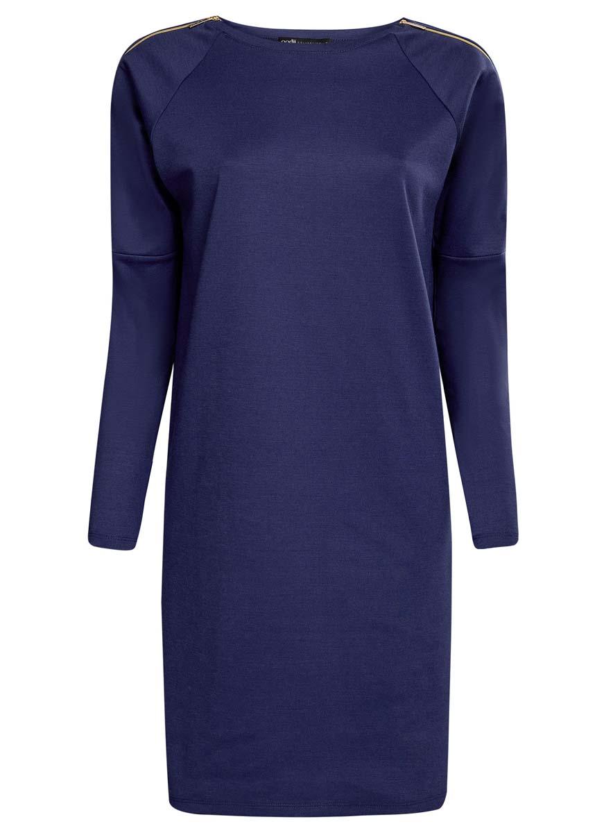 Платье oodji Collection, цвет: синий. 24007026/37809/7500N. Размер XL (50)24007026/37809/7500NТрикотажное однотонное платье oodji Collection изготовлено из полиэстера с добавлением эластана. Верх платья выполнен с длинными рукавами и круглым вырезом. Рукава дополнены декоративными молниями, которые полностью расстегиваются. Модель свободного кроя.