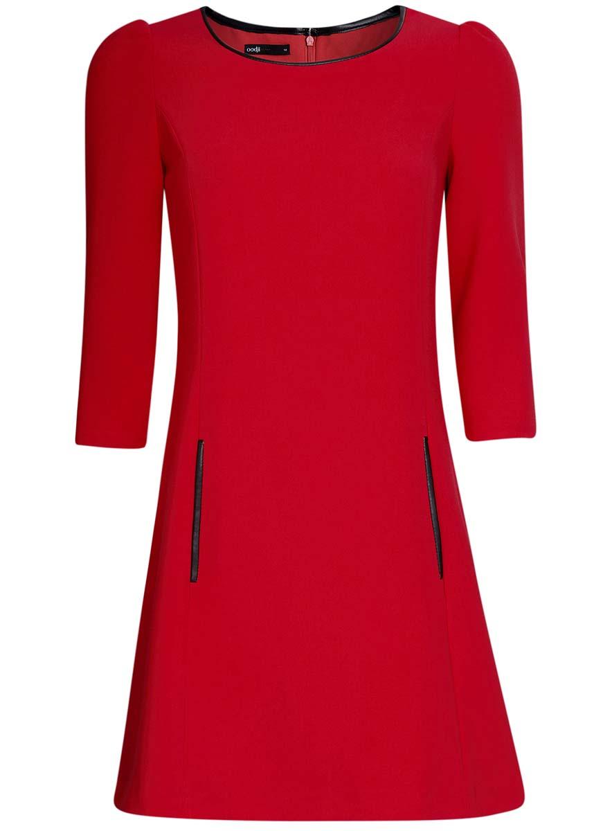 Платье oodji Ultra, цвет: красный. 11902145-1/38248/4500N. Размер 40 (46-170)11902145-1/38248/4500NМодное платье oodji Ultra станет отличным дополнением к вашему гардеробу. Модель, выполненная из полиэстера с добавлением вискозы и полиуретана, дополнена вставками из искусственной кожи. Платье-миди с круглым вырезом горловины и рукавами 3/4 спереди дополнено втачными карманами.