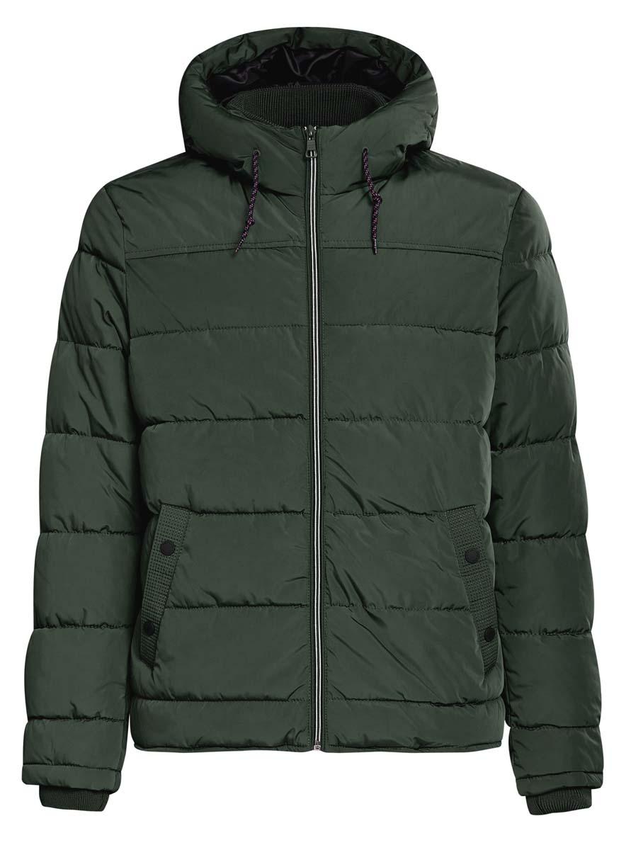 Куртка мужская oodji Basic, цвет: темно-зеленый. 1B112006M/39877N/6900N. Размер M (50-182)1B112006M/39877N/6900NМужская куртка oodji Basic выполнена из 100% полиэстера. В качестве подкладки и утеплителя также используется полиэстер. Модель с несъемным капюшоном застегивается на застежку-молнию. Капюшон дополнен по краю шнурком-кулиской, а по низу - эластичной резинкой. Рукава имеют внутренние эластичные манжеты. Низ изделия дополнен эластичным шнурком-кулиской. Спереди расположено два прорезных кармана на кнопках, а с внутренней стороны - прорезной карман на застежке-молнии.