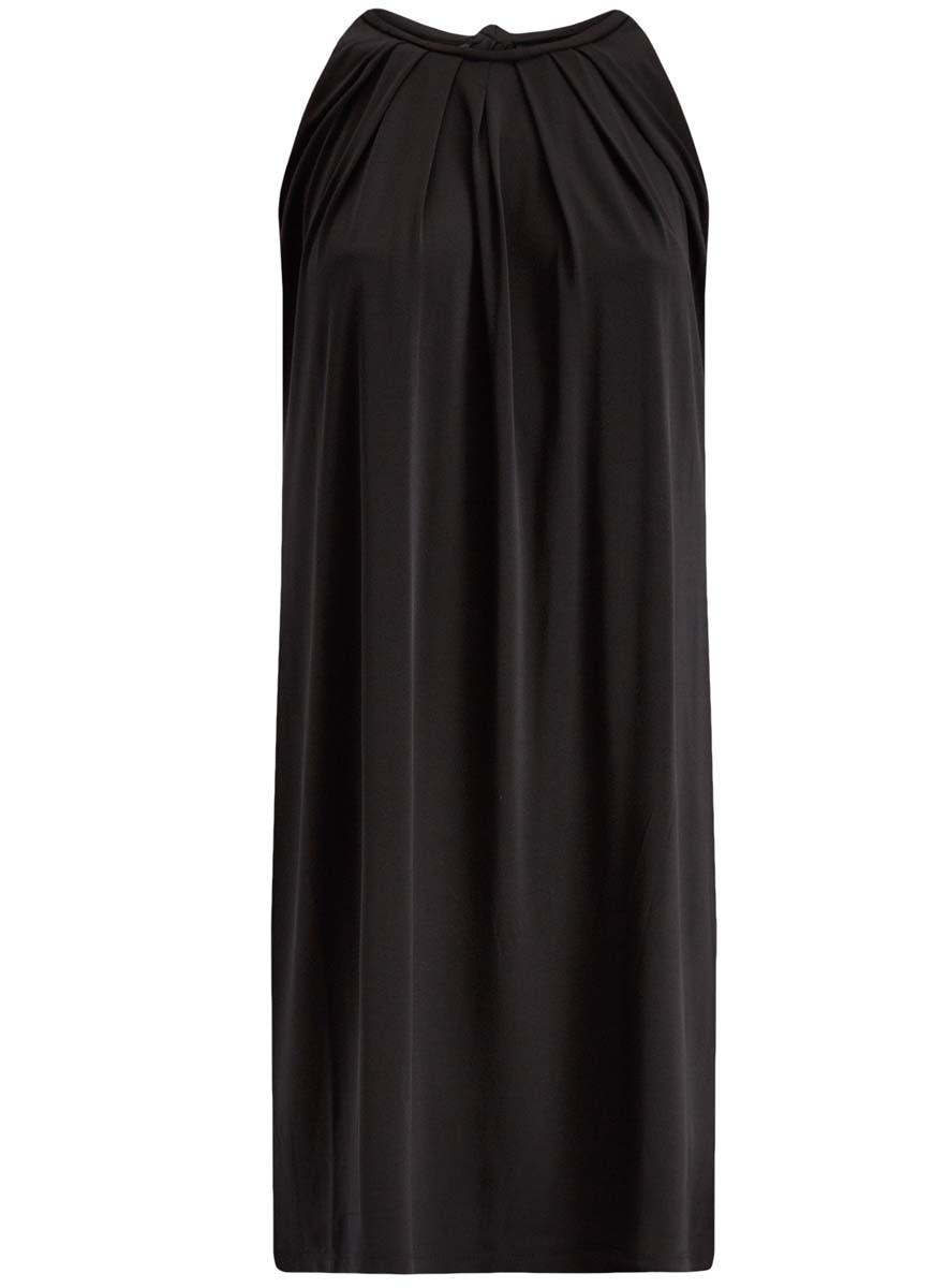 Платье oodji Collection, цвет: черный. 24005125/42788/2900N. Размер XS (42)24005125/42788/2900NСтильное платье oodji Collection выполнено из полиэстера с добавлением полиуретана. Модель свободного кроя без рукавов сзади завязывается на завязки.
