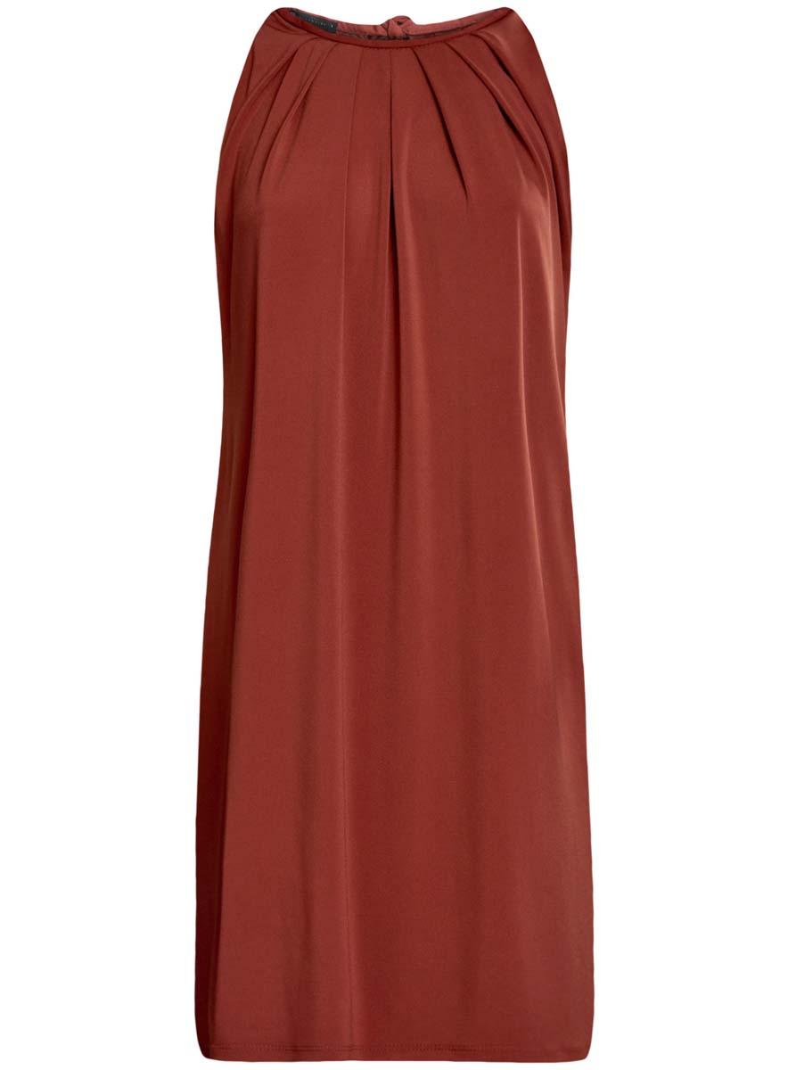 Платье oodji Collection, цвет: терракотовый. 24005125/42788/3100N. Размер S (44)24005125/42788/3100NСтильное платье oodji Collection выполнено из полиэстера с добавлением полиуретана. Модель свободного кроя без рукавов сзади завязывается на завязки.