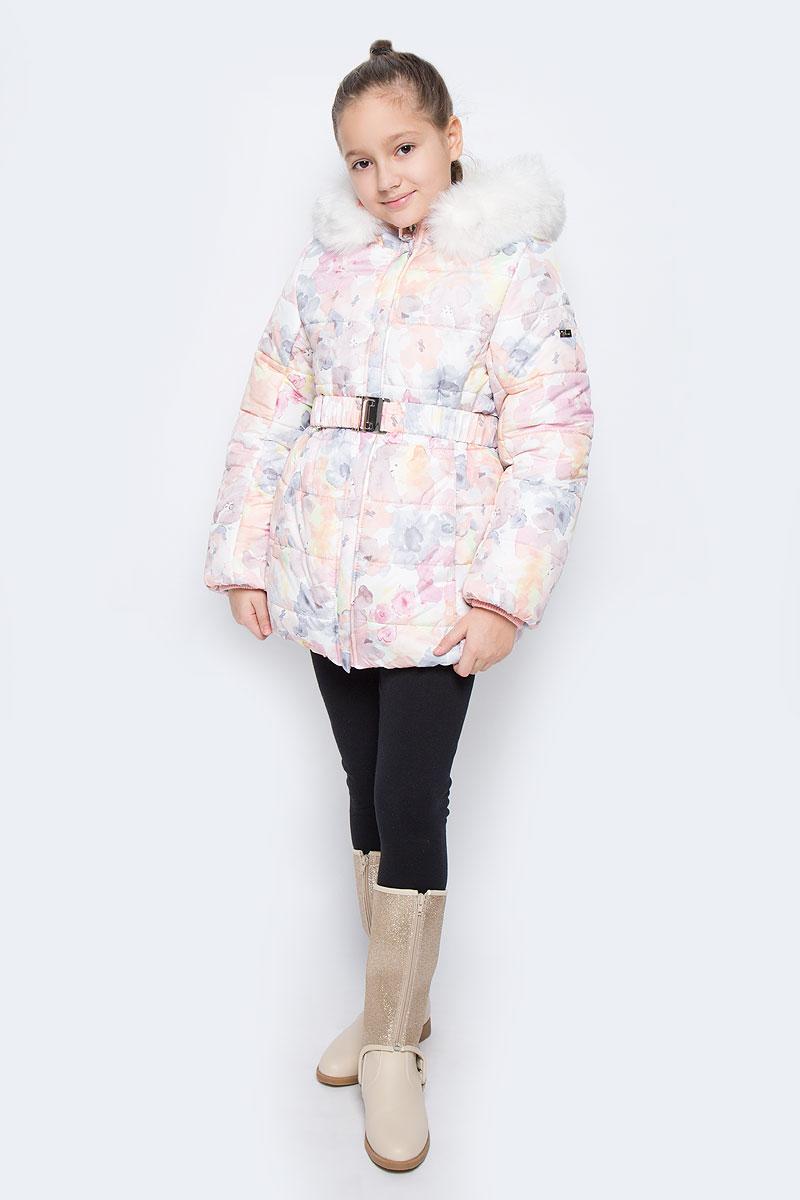 Куртка для девочки Boom!, цвет: нежно-розовый, белый. 64354_BOG_вар.1. Размер 128, 7-8 лет64354_BOG_вар.1Куртка для девочки Boom!, изготовленная из полиэстера, станет стильным дополнением к детскому гардеробу. Материал приятный на ощупь, позволяет коже дышать, легко стирается, быстро сушится. Подкладка выполнена из полиэстера с флисовыми вставками. В качестве утеплителя используется синтепон (400 г/м2). Модель с капюшоном и длинными рукавами застегивается на пластиковую застежку-молнию с защитой подбородка и дополнительно имеет внутреннюю ветрозащитную планку. Капюшон регулируется при помощи эластичной резинки с стопперами и дополнен искусственным мехом, который отстегивается при помощи молнии. По бокам расположены два прорезных кармана. На талии модель дополнена шлевками для ремня и эластичным поясом.Рукава дополнены трикотажными манжетами. Красивый цвет, модный силуэт обеспечивают куртке прекрасный внешний вид!Теплая, удобная и практичная куртка идеально подойдет юной моднице для прогулок!