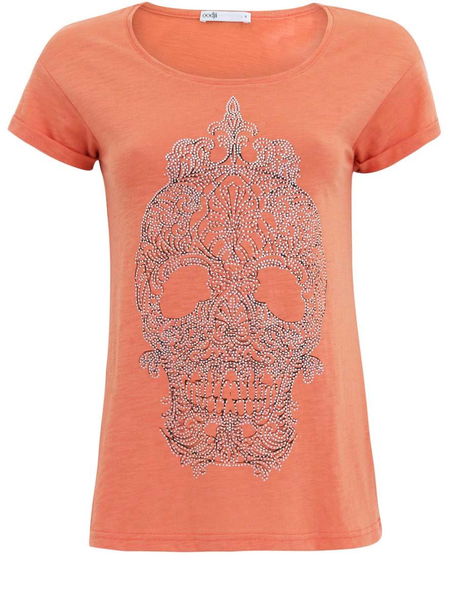 Футболка женская oodji Ultra, цвет: оранжевый, серебряный. 14701029/45221/5991P. Размер XXS (40)14701029/45221/5991PЖенская футболка выполнена из хлопка с добавлением полиэстера и оформлена ярким принтом в виде черепа. Модель с круглым вырезом горловины и стандартными короткими рукавами, дополненными отворотом.