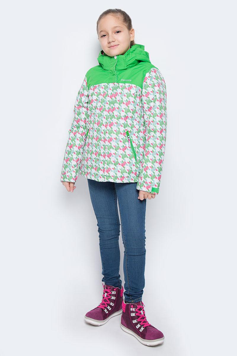 Куртка для девочки Icepeak Helga Jr, цвет: зеленый, розовый. 650028502IV. Размер 116650028502IVКуртка для девочки Icepeak Helga Jr выполнена из прочного текстиля с водонепроницаемой и воздухопроницаемой мембраной Icemax 5000/2000 г/м2 /24 ч, которая защищает от ветра и влаги даже в экстремальных условиях. Модель с капюшоном и воротником стойкой застегивается на молнию с защитой подбородка и дополнена ветрозащитным клапаном на липучках. Капюшон пристегивается при помощи кнопок. Манжеты рукавов регулируются по ширине за счет хлястиков с липучками. Спереди модель дополнена двумя прорезными карманами на застежках-молниях, на рукаве имеется скрытый карман на молнии, с внутренней стороны расположен один накладной карман. Куртка оснащена светоотражающими элементами.Водонепроницаемая мембрана 5000 mm.